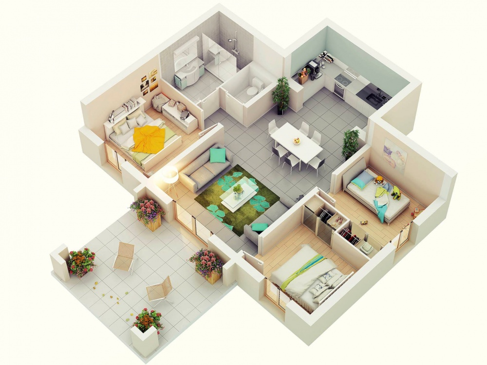 Design Your Future Home With 3 Bedroom 3d Floor Plans