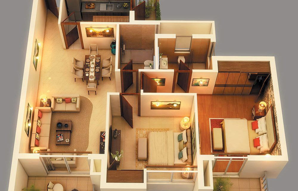 Beautiful Apartment House Plans 3D