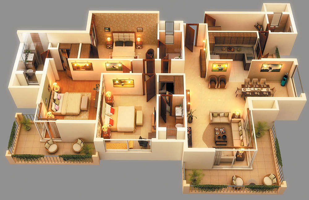 Beautiful Apartment House Plans 3D