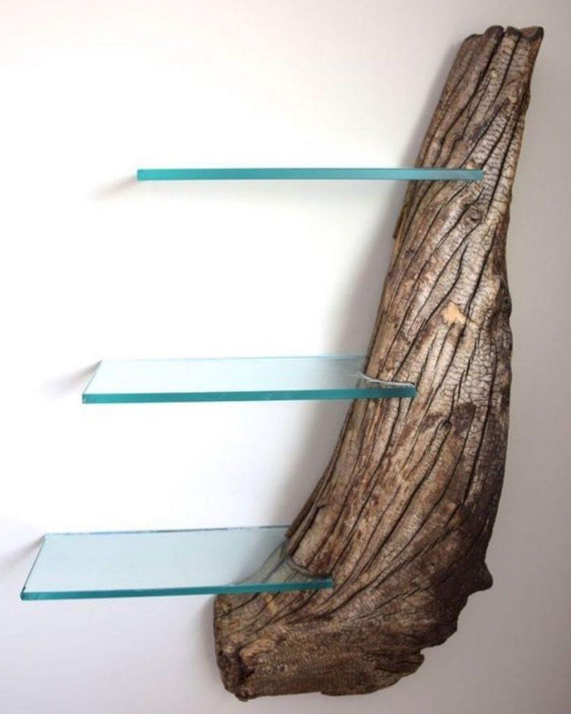 rustic wood shelves