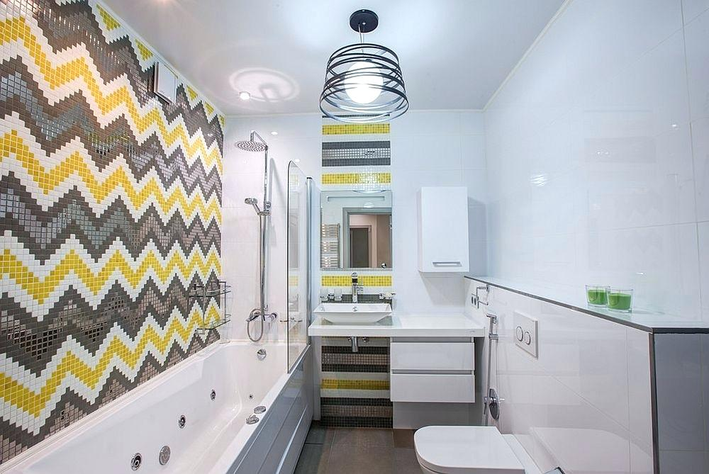 chevron patterned bathroom wall