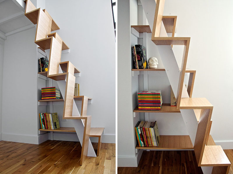 under the stairs bookshelf