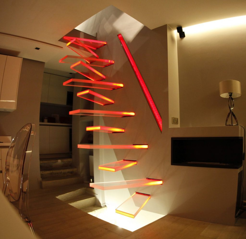 glass stairs with led lights