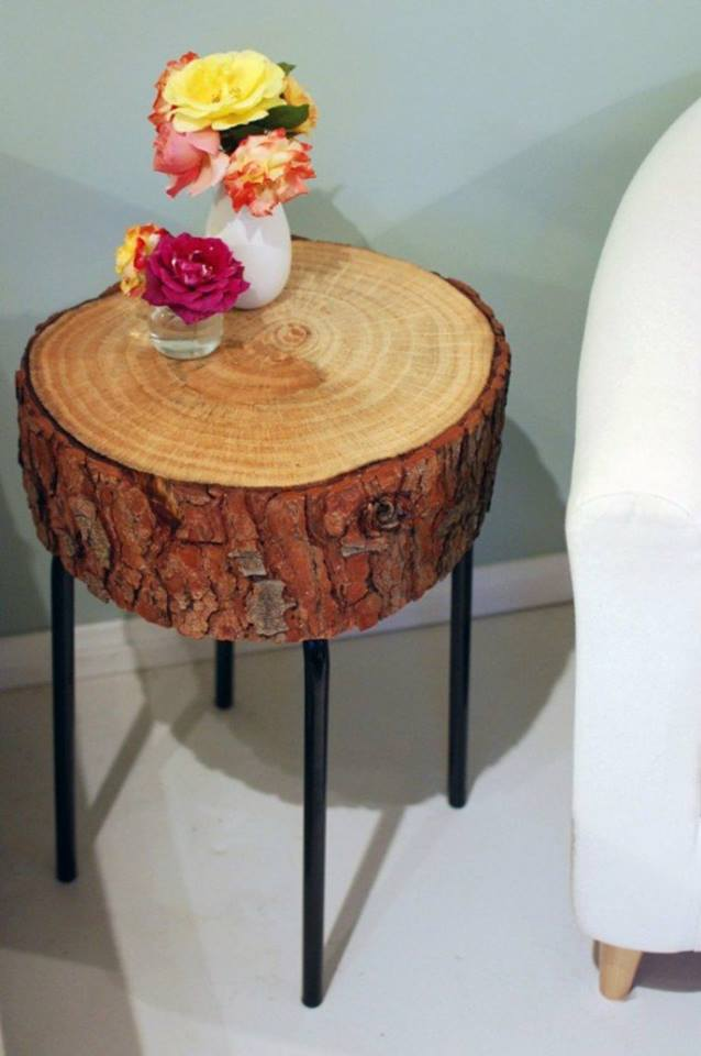 wooden firewood table