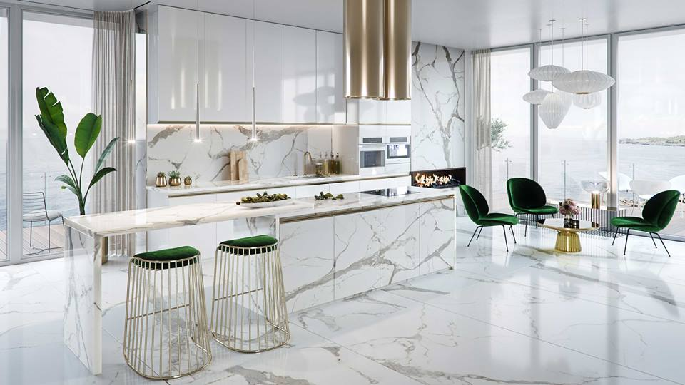 green chair in kitchen bar
