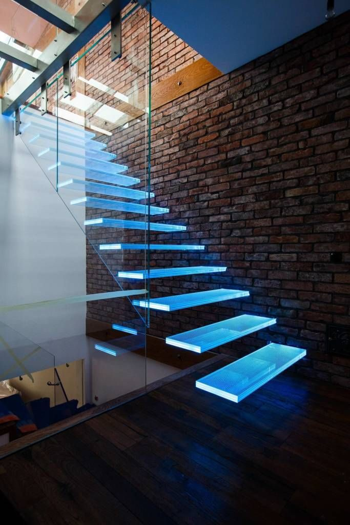 interior stairs with lights