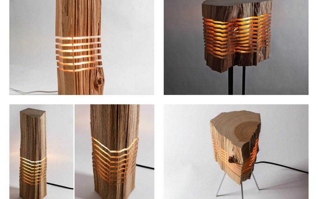 Wooden Sliced Lamps For Authentic Home Design