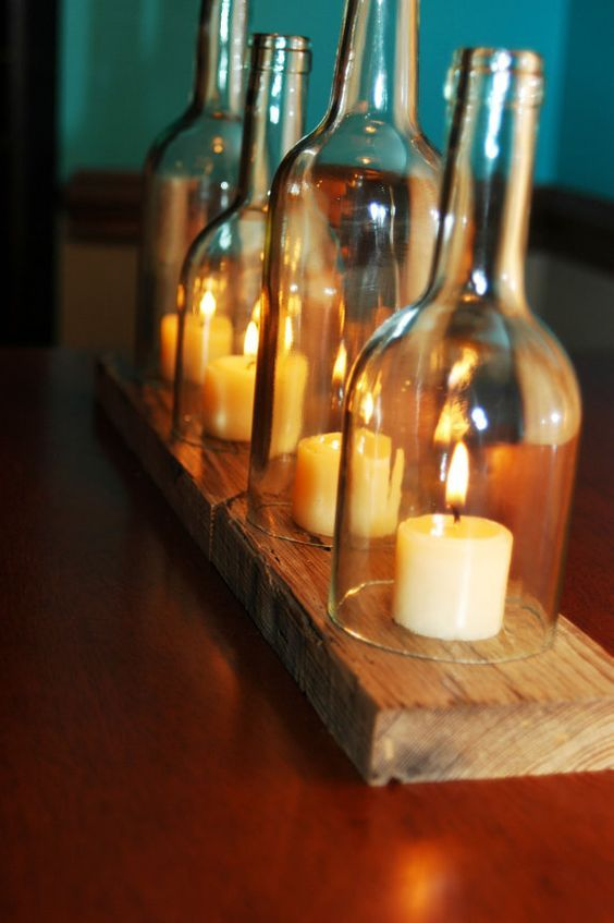 wine bottles candle