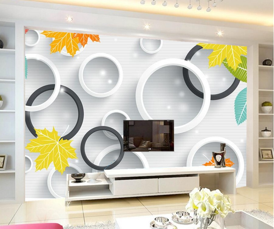 Tv unit with wallpaper