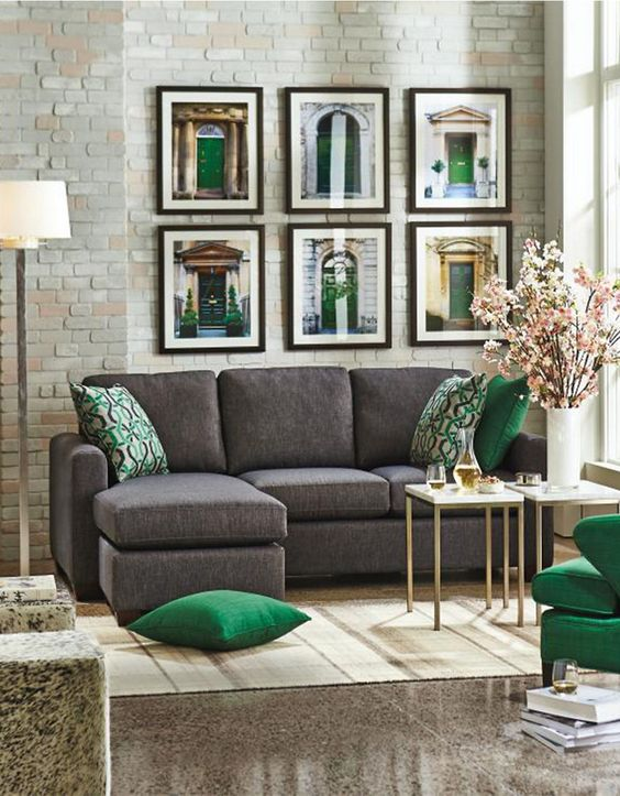 green and grey living room