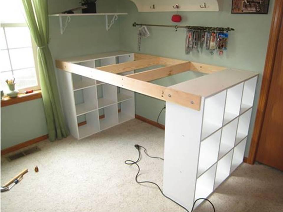 desk with storage shelves