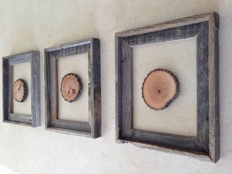 wood slices in frames
