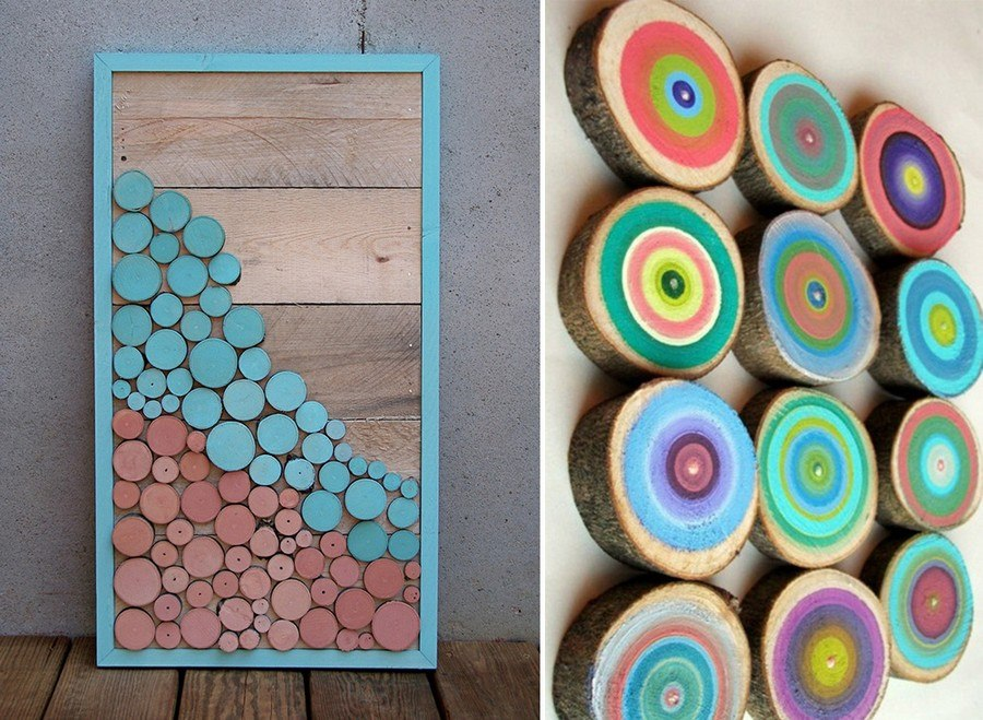 colorful wood slices
