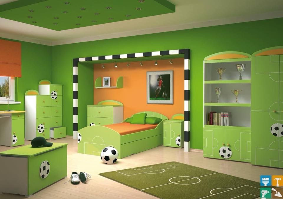 green football theme kids room