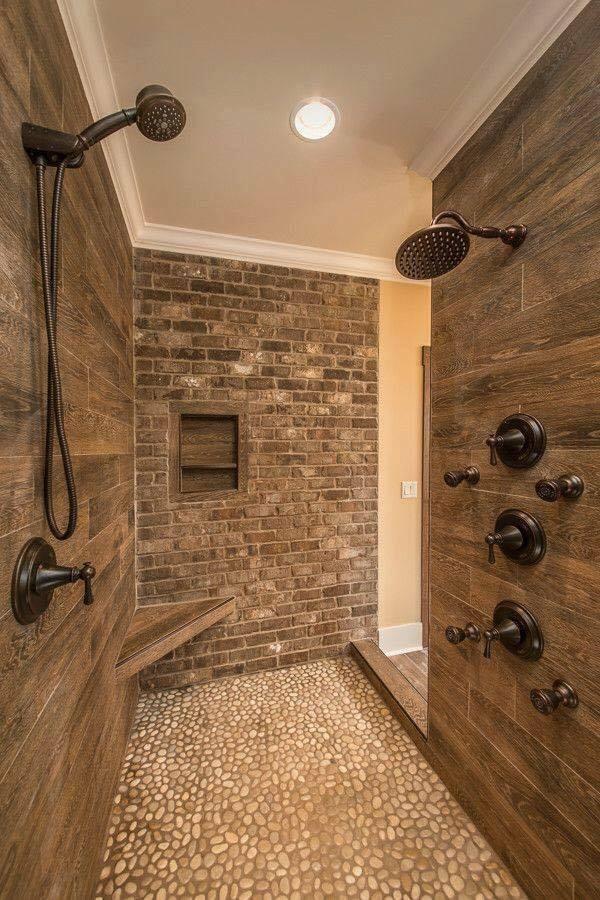 wood and bricks bath wall