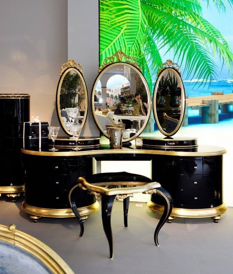 gold and black dressing table