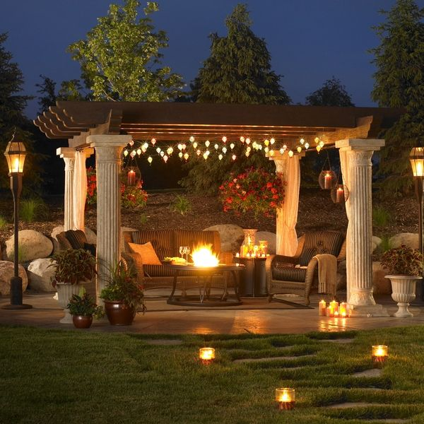 outdoor seating with lights