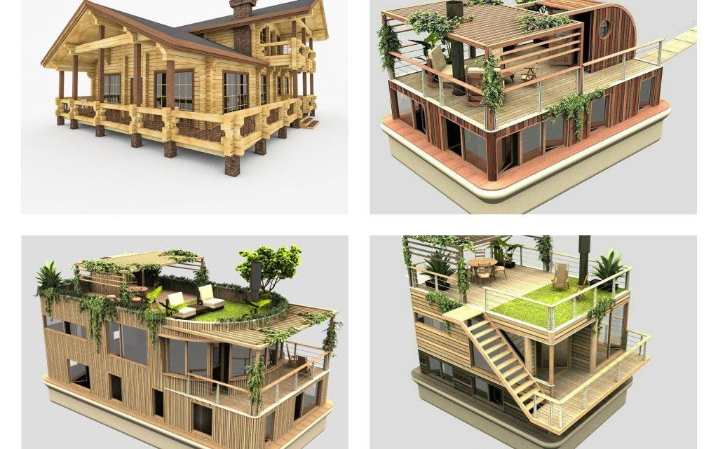 3D Wooden House Plans
