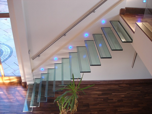 glass stairs with lighting