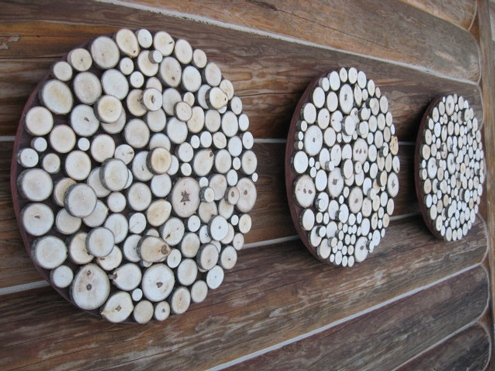 wood slices wall art