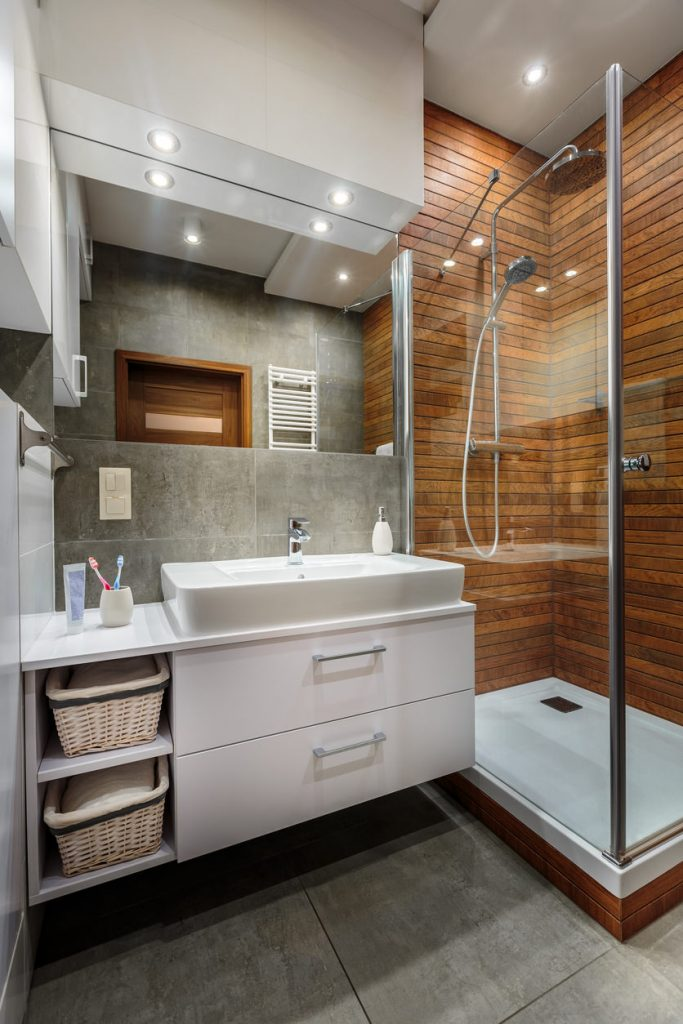 modern wooden shower