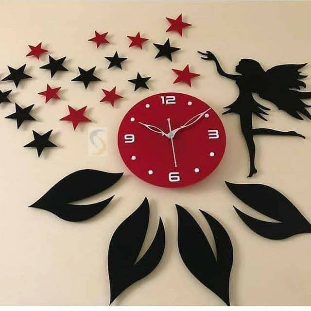wall clock and 3D stickers