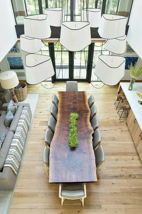 large rustic table dining room