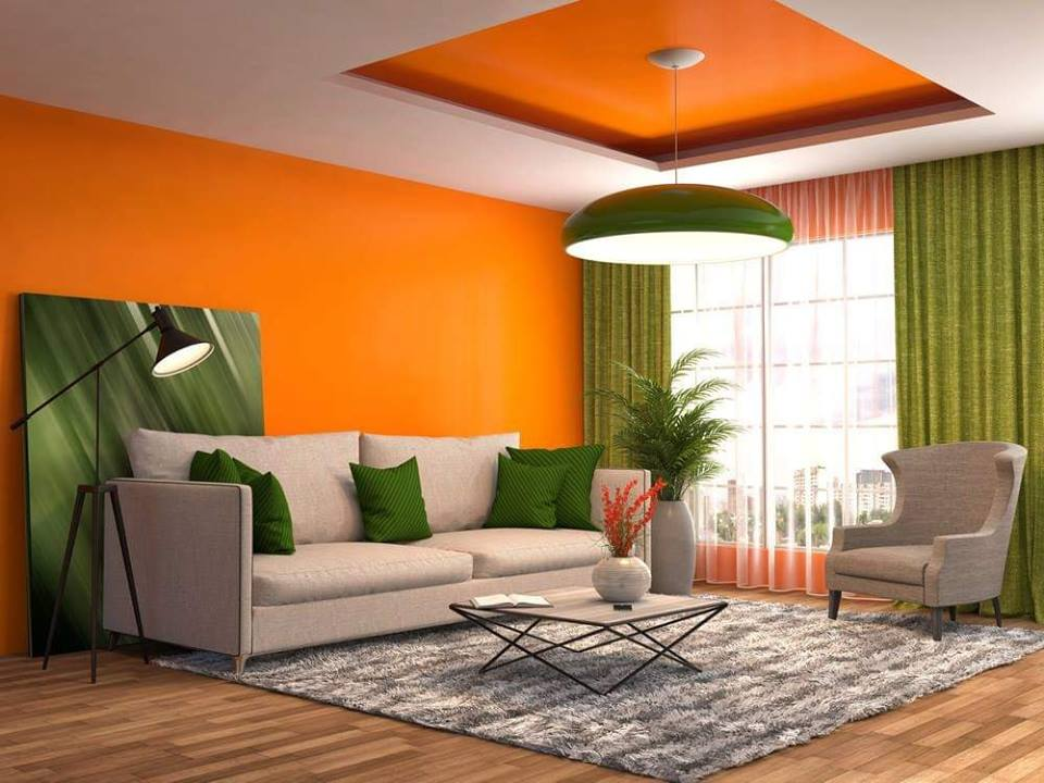 orange interior vibrant space