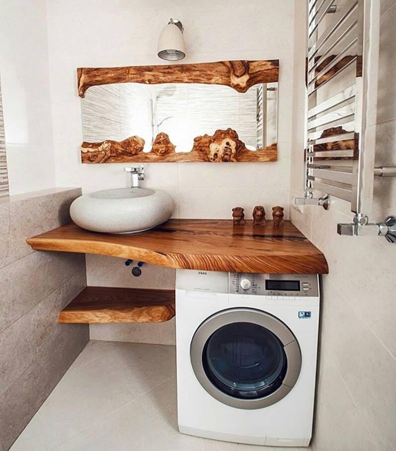 wooden furniture of bathroom