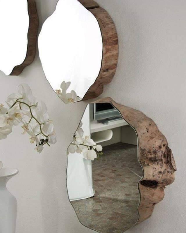 rustic wooden mirror circles