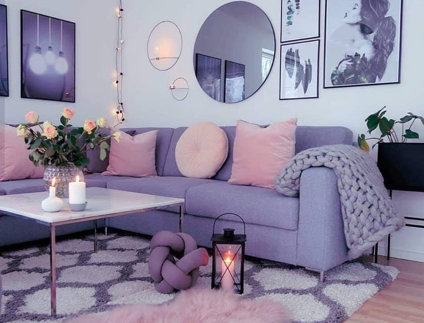 Elegant and Purple Living Room