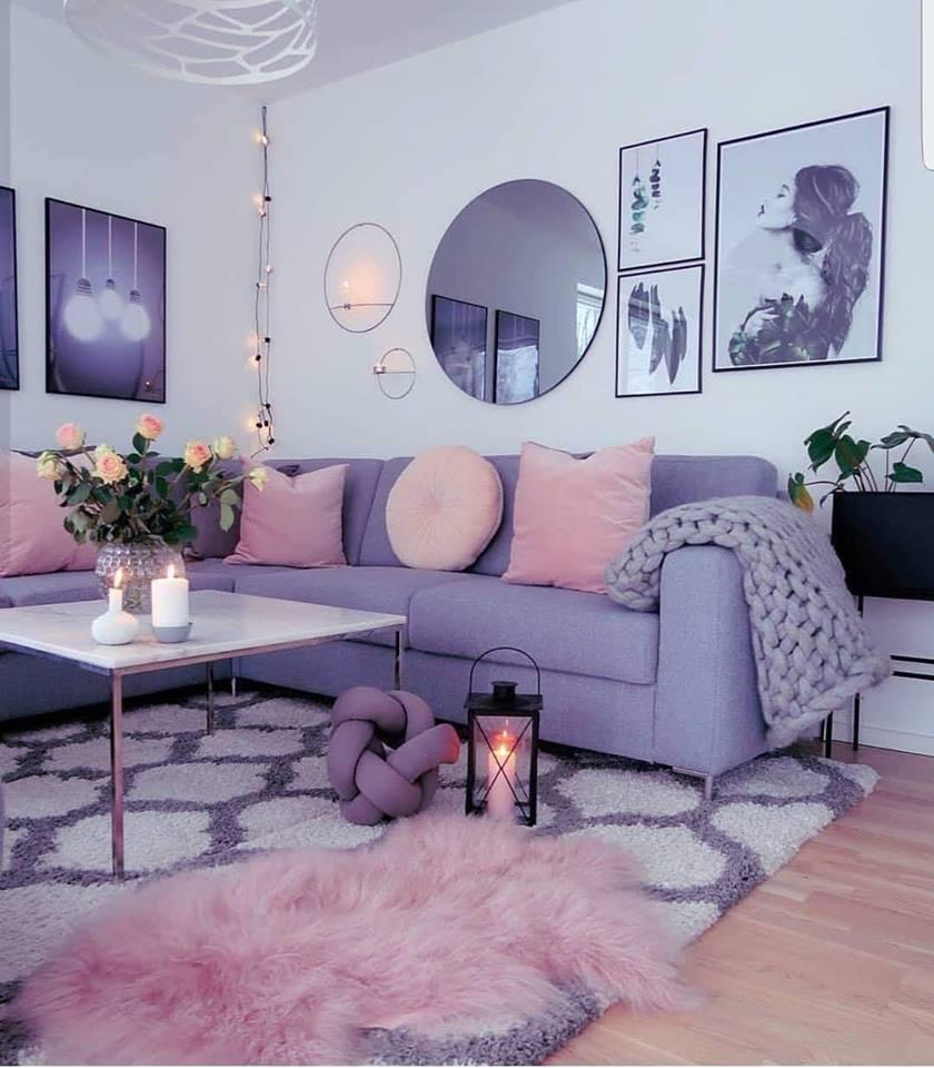 Elegant And Purple Living Room, Purple Living Room