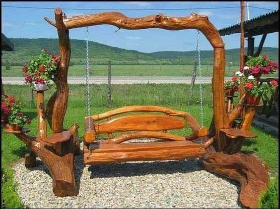 rustic wooden swings