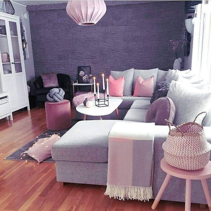 purple and pink living room