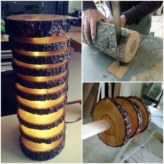 wood slice lamp