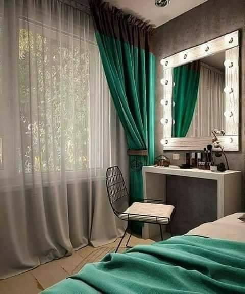 dark green curtains