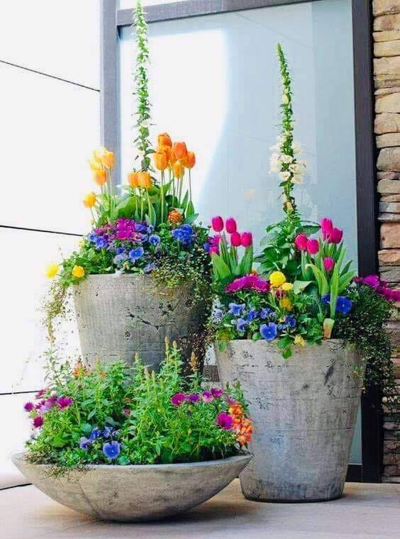 concrete flower pot