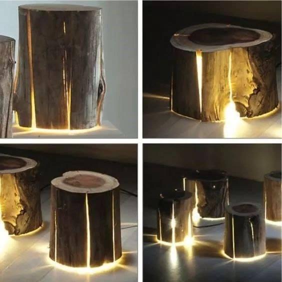tree trunk lamp