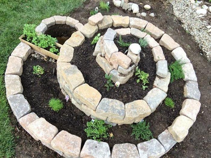 river rocks spiral garden