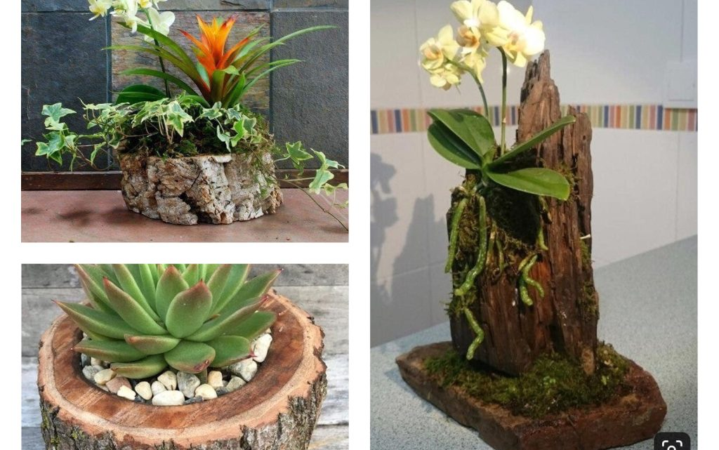 DIY Cute Tree Stump Vases