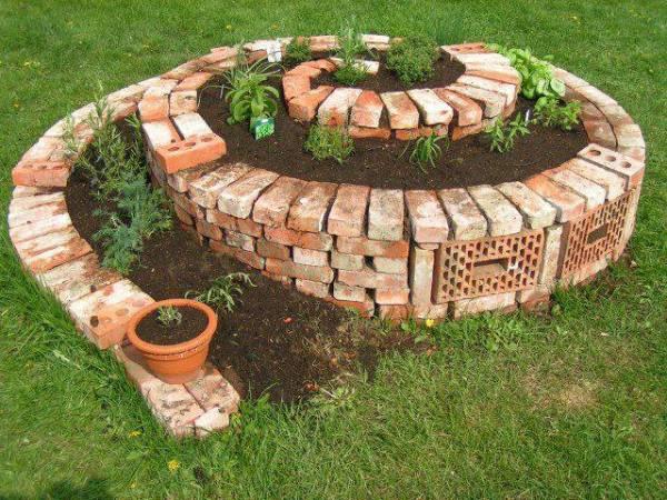 bricks spiral garden