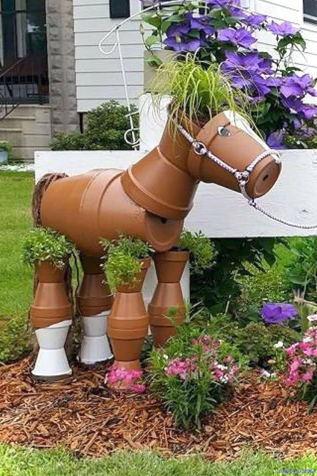 flower pots animals