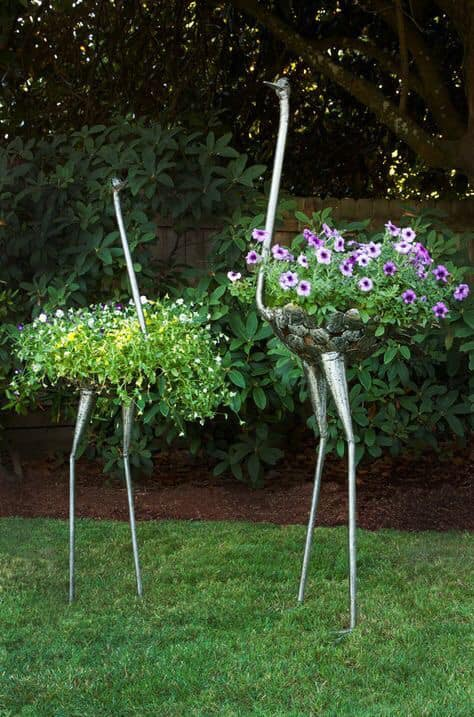 metal bird planter