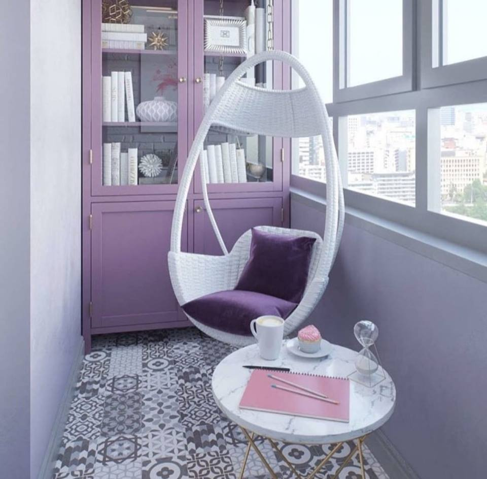 pink and purple balcony