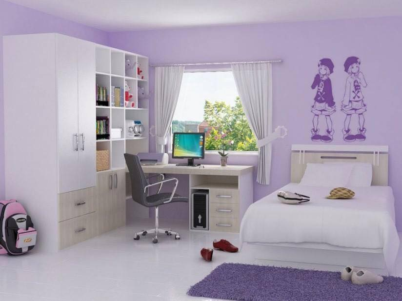 purple and white kids room