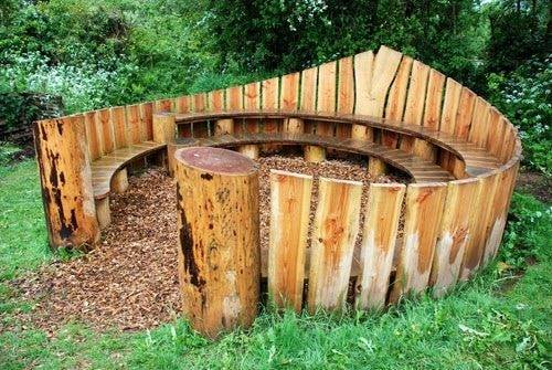 outdoor wooden seating bench
