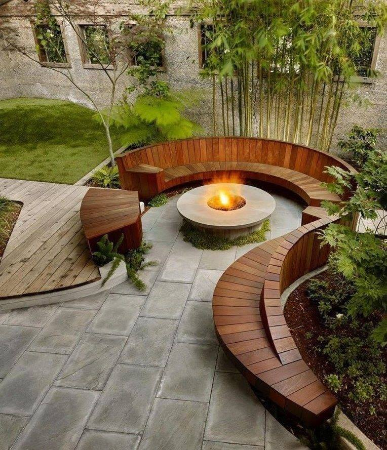 wooden seating areas