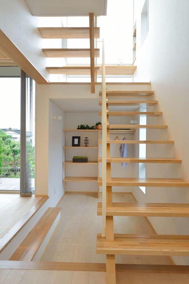 wooden interior stairs