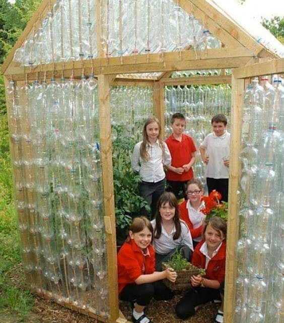 Small Houses Made by Plastic Bottles Recycling