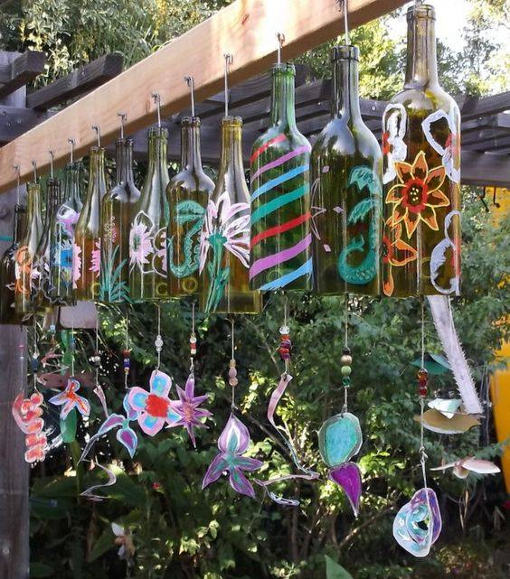 hanging glass bottles